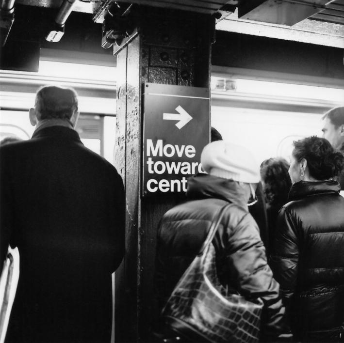 Move Toward Center Subway Platform NYC